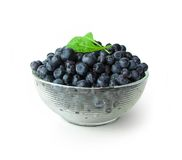 Whortleberries in glass bowl Royalty Free Stock Photo