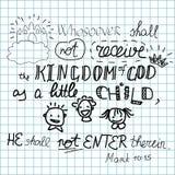 Whosoever не получит королевство бога как ребенок не впишет его Стоковые Изображения