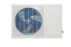 Whote air conditioner external compressor Royalty Free Stock Photography