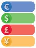 Währungs-flache Fahnen und Knöpfe Lizenzfreie Stockfotos