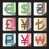 Währungsknöpfe Stockfotografie
