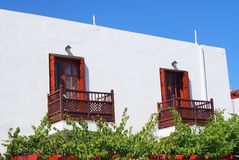 Whte Cube Building, Greek Island Royalty Free Stock Images