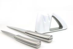 Whte knife sharpener, isolated background Royalty Free Stock Photo