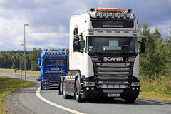Whte Scania R520 Longline on Motorway Junction Stock Images