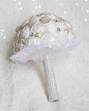 Whtie glam rose and pearl bridal bouquet Royalty Free Stock Images