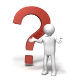 Why?!!. 3D rendered image of a character shrugging shoulders in front of a big question mark sign Royalty Free Stock Images