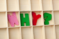Why. Letter blocks forming the word WHY royalty free stock image