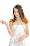 Why. Young adult beauty girl in pose on white Stock Image
