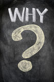 WHY with a big question mark. Written on a blackboard stock illustration