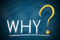 WHY with a big question mark. On chalkboard royalty free stock images