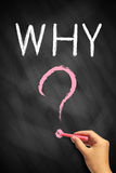 WHY with a big question mark. On chalkboard Stock Images