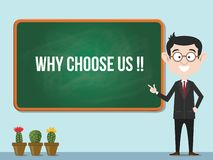 Why choose us concept with business man standing for promotion business advertisement royalty free illustration