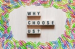 Why choose us words concept stock photo