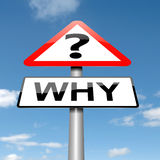Why concept. Illustration depicting a roadsign with a why concept. Sky background Royalty Free Stock Photography