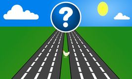 Why Did The Chicken Cross The Road. Cartoon chicken illustration crossing roads with question mark hanging above vector illustration