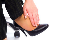 Why do women wear high heels if it hurts?. Hurting feet while wearing high heels all day Royalty Free Stock Photography