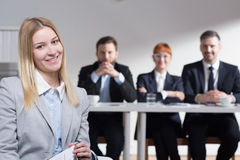 Why do you want to work in our corporation? Royalty Free Stock Photos