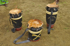 WHY THE DRUM IN THE ABISSA. The sacred drum is sent to the clearing during the feast of L`Abissa, feast of rejoicing and social criticism or the participants are Stock Photography