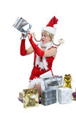 Why is this empty. Cute girl looking at an empty package in christmas dress Stock Photography