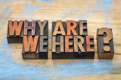 Why are we here question. Why are we here? A philosophical and spiritual question in vintage letterpress wood type stained by color inks Royalty Free Stock Images