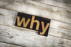 Why Letterpress Word on Wooden Background stock photo