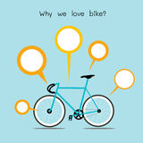 Why we love bike. bicycle with quote text . royalty free illustration