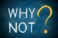 WHY NOT with a big question mark. On chalkboard Royalty Free Stock Images