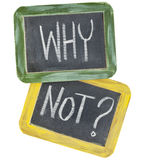 Why not question. Or speculation  - white chalk text on two vintage slate blackboards, isolated on white Royalty Free Stock Image