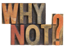 Why not? Question in wood type. Stock Images