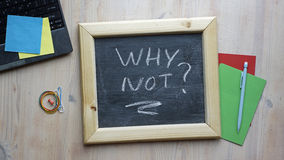 Why not?. Why not written on a chalkboard at the office Stock Photo