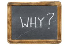 Why quest. Ion handwritten on vintage slate chalkboard isolated on white stock photo