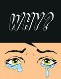 Why question mark  with crying eyes pop art illustration. Why question mark  with crying eyes pop art Stock Photos