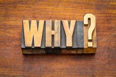 Why question in vintage wood type Stock Photo