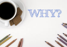 WHY? White desk with a pencil and a cup of coffee. Stock Image
