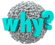 Why Word Question Mark 3d Symbols Sphere Wonder Reason. Why word in 3d letters on a sphere of question marks to illustrate wonder and being inquisitive in royalty free illustration