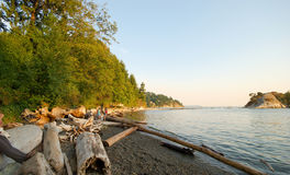 Whytecliff Park, West Vancouver, BC. Logs and pebbles line the beach at Whytecliff Park, West Vancouver, BC royalty free stock image
