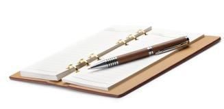 wiążącego miedzianego notatnika otwarty pióro elegancki Obraz Stock