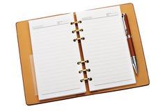 wiążącego miedzianego notatnika otwarty pióro elegancki Obraz Royalty Free