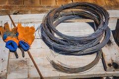 Wiążący drut, budowa Fotografia Royalty Free