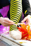 Wiązać baletniczych buty Zdjęcia Stock