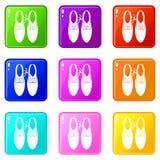 Wiązane koronki na butach żartują ikon 9 set royalty ilustracja