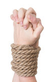 Wiązane ręki, odosobniony biel Obraz Stock