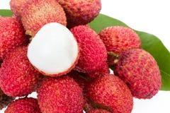 Wiązka świeży lychee z liściem Zdjęcie Royalty Free