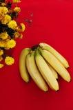 Wiązka banany na czerwonym tle Świeży organicznie banan, Świezi banany na kuchennym stole Obraz Stock