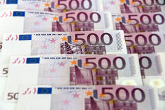 Wiązka horyzontalnych 500 euro banknotów () Zdjęcia Stock