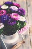 Wiązka kolorowi astery w starej mleko puszce, rocznika skutek zdjęcie stock