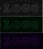 Wiązka laserowa loga neonowy set, cienie popielaty, zieleni, fiołek Zdjęcia Stock