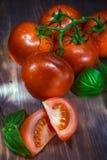 Wiązka pomidor na pokładzie strzału z kreatywnie oświetleniem Zdjęcia Royalty Free