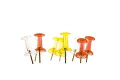 Wiązka szpilki, czerwień, kolor żółty i biel materiały, Zdjęcia Stock