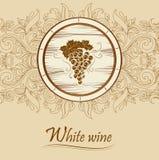Wiązka winogrona dla etykietek wina ceg, baryłka, cas Fotografia Stock